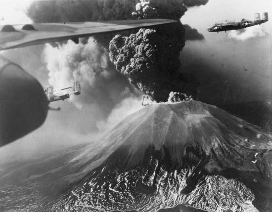 B25 over volcano