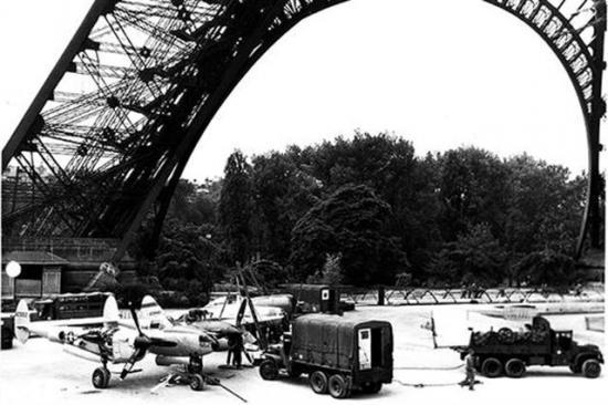 P-38 Displayed Under Eiffel Tower 1944