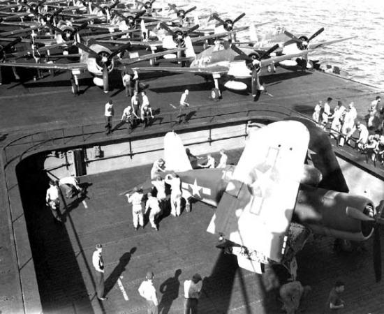 F4U Corsair on deck